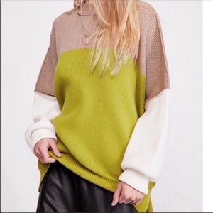Free People Colorblocked Oversized Sweater NEW L